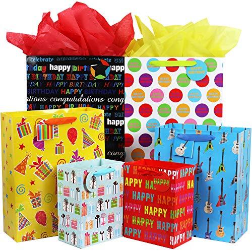 Fzopo Birthday Gift Bag Assortment with Ribbon Handle, 12 Pcs Premium Quality Assorted Sizes Paper Bags Set, XL 13x17x6.5, Large 12x15x4.8, Medium 7x9x4.2 inches (6 Designs)