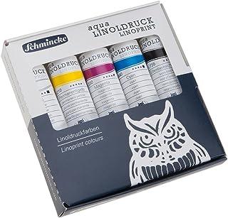 Schmincke Künstlerfarben, aqua-LINOLDRUCK, Linoldruckfarben, Kartonset mit 5 x 20ml Tuben