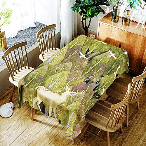 QWEASDZX Mantel Algodón y Lino Pequeño Fresco Impresión Digital Mantel Rectangular Cubierta Reutilizable multifunción para Silla Adecuado para Interiores y Exteriores 150x210cm