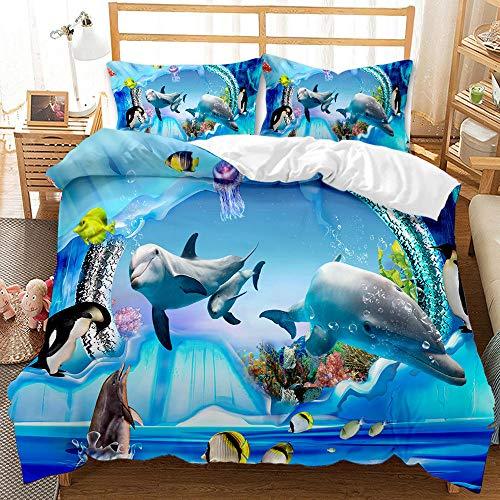 Bedclothes-Blanket Juego sabanas de Cama 150,Conjunto de Tres Conjuntos de Ropa de Cama Digital 3D de lecho bajo el Agua Whale Whale Shark-4_210 * 210cm