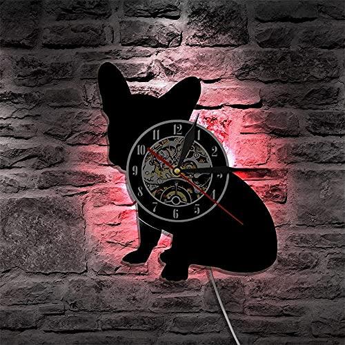 Wwbqcl Reloj de Pared Bulldog Franco, Reloj de Pared con Disco de Vinilo para Perro, Reloj de Pared para Cachorro, decoración del hogar, Reloj con Silueta de Perro