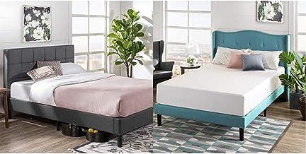 Zinus Lottie Upholstered Platform Grey Bed Frame | Model | King & 12 Inch Green Tea Memory Foam Mattress/CertiPUR-US Certi...