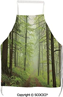 SCOCICI Apron Trail Trough Foggy Alders Beeches Oaks Coniferous Grove Hiking Theme Unisex Kitchen Bib Apron with Pockets for Cooking Baking Gardening,27.6