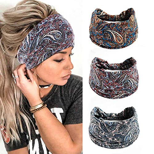 Yean Diadema ancha Vintage Headscrafs flor banda de pelo de tela elástica Yoga Knoted Turbante Head Accesorios para mujeres y niñas (paquete de 3)