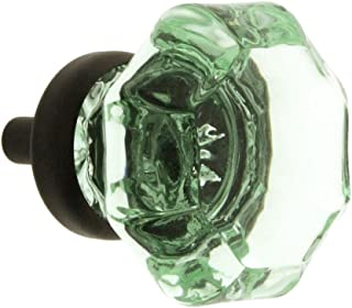 Octagonal Pale Green Glass Knob with Brass Base in Oil-Rubbed Bronze