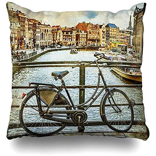 Gooi kussenslopen reizen traditionele Holland kanalen en fietsen vintage oude verf Amstel Amsterdam bisycle kussensloop vierkante bank schattig 18 x 18 inch kussenslopen