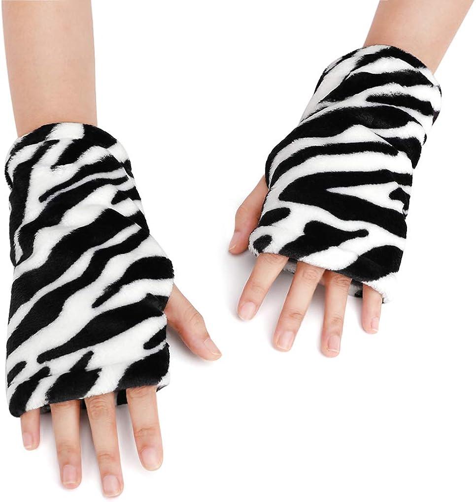 Women Men Flannel Winter Fingerless Gloves Thick Warm Half Finger Gloves Mitten