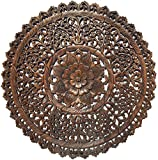 Set of 3 Large Round Wood Carving Floral Wall Decor Panel. Rustic Home Decor. Asian Wood Wall Hanging. 36' (Dark Brown)