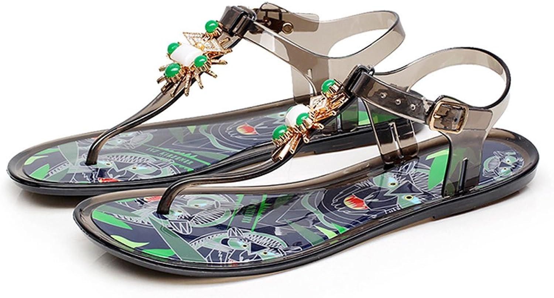 Sandals Bohemian Painted Sommer weibliche Clip Toes Strass Beach Schuhe flachen Boden (Farbe   Dunkelgrau, größe   EU36 UK3.5 CN35)  | Sehr gute Qualität  | Haltbarkeit  | Up-to-date Styling