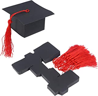 FUNZZY Doctoral Hat Candy Box Graduation Celebration Cap Party Supplies Candy Packing Boxes for 2019 Graduation Decoration (Black with Red Wheat Ears) 50Pcs