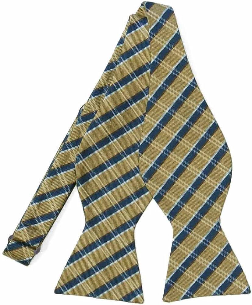 TieMart Regent Morris Neckwear Gold and Navy Blue Engineer Plaid Wool/Silk Self-Tie Bow Tie