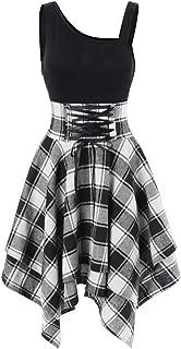 💕 Elegant Women Plaid Adjustable Lacing Irregular Hem Vintage Evening Party Asymmetrical Dress