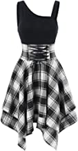 Birdfly Basic Black Top Patchwork Plaid Skirt Fashion Dress for Women Girl