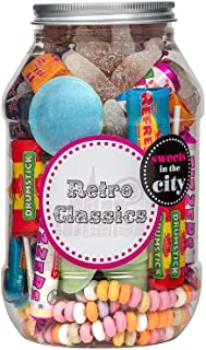 Sweets in the City Retro Classic Jar | Reusable Plastic Jar with Embossed Twist Lid | Vibrant Mix of Classic Retro Candy a...