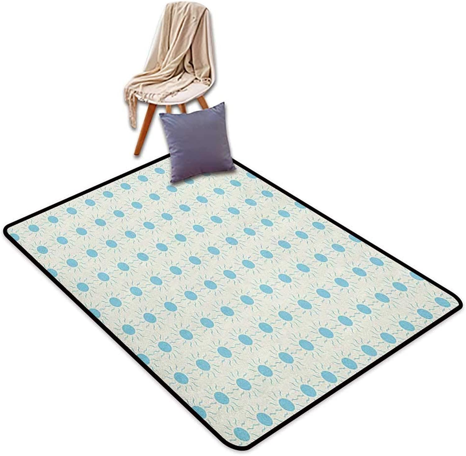 Non-Slip Carpet Aqua bluee Sun Shape Circle and Swirl Sweet Aquatic Summer Themed Abstract Design Print Outside The Door Rug W5'xL8'