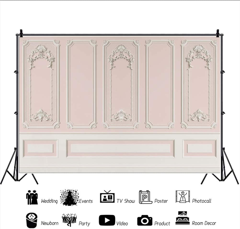 Haoyiyi 7x5ft Empty Room Architectural Interior Backdrop Luxury Indoor Empty Room Baroque Modern Classic Living Room Background Photography Lover Wedding Cowboy Kids Birthday Photo Booth Studio Prop