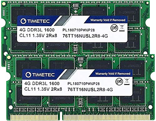 Timetec Hynix IC DDR3L 1600MHz PC3-12800 Unbuffered Non-ECC 1.35V CL11 2Rx8 Dual Rank 204 Pin SODIMM Laptop / Notizbuch Arbeitsspeicher Module Upgrade (8GB Kit (2x4GB))