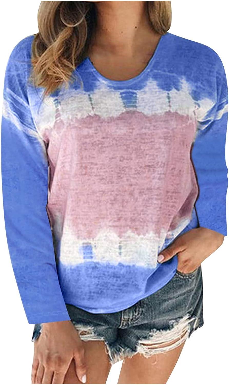 FABIURT Women Long Sleeve Tops,Women's Fashion Gardient Color Print Crew Neck Long Sleeve T Shirt Tunic Pullover Blouse