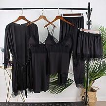 Dames Badjas Dames Nachtkleding Zijden Satijnen Pyjama Nachtkleding Kanten Meisjes Nachtkleding 5 Stks Zwart Losse Gewaad ...