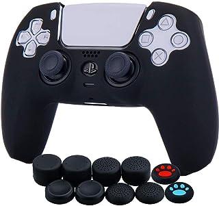 Funda de piel de silicona engrosada para Sony PS5 Dulasense Controller x 1 (negro) con agarres para el pulgar x 10