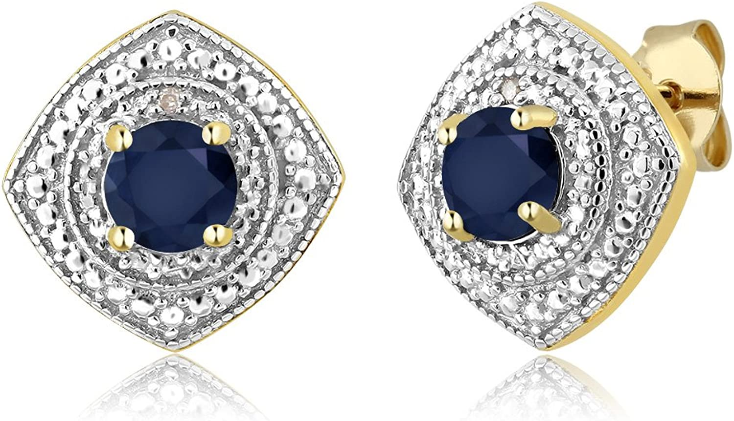 1.20 Ct Round Sapphire with Diamond Accent 18K Yellow gold Plated Silver Studs