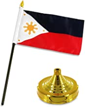 ALBATROS Philippines 4 inch x 6 inch Flag Desk Set Table Stick with Gold Base for Home and Parades, Official Party, All Weather Indoors Outdoors
