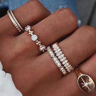 YERTTER 6 PCS Vintage Silver Ring Set Sun Rings Set Rhinestone Rings Set Joint Knuckle Ring Set Finger Rings Stackable Ret...