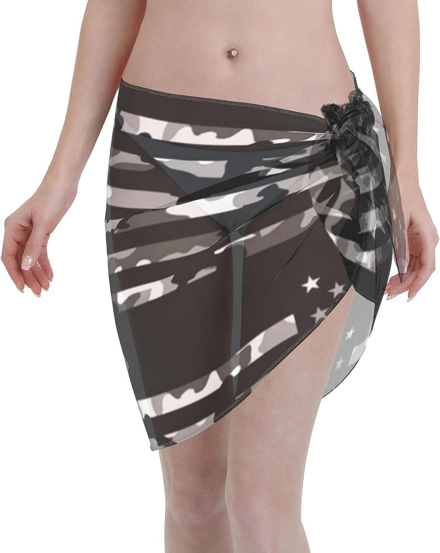 American Tactical Camo Flag Women Beach Short Sarongs Cover Ups Beach Swimsuit Wrap Skirt