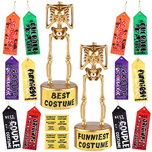 URATOT 2 Pack Halloween Costume Skeleton Plastic Gold Trophies with 12 Pieces Sticker, 12 Pieces Costume Contest Award Prize Ribbons, for Halloween Costume Contest Party Awards