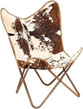 Festnight Butterfly Chair Retro Lounge Chair Living Room Furniture Genuine Goat Leather,Brown and White 74 x 66 x 90 cm
