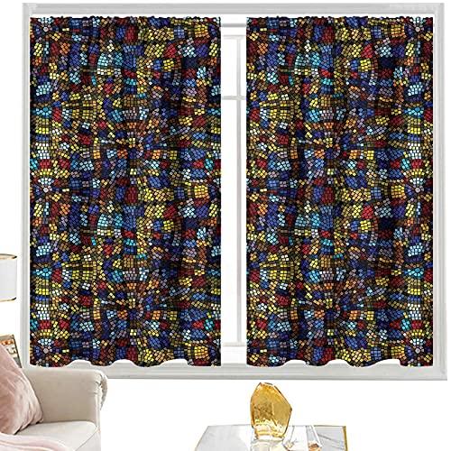 Cortinas y cortinas antiguas, victorianas mosaico azulejos W52 x L54 pulgadas cortinas opacas