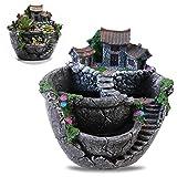 Macetero creativo Oulii para plantas con forma de minijardín de hadas y con una preciosa casita de adorno