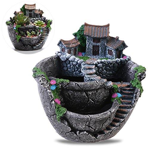 oulii Pflanzen Topf Creative Pflanzen POT Mini Fairy Garden und Sweet Haus für Dekoration