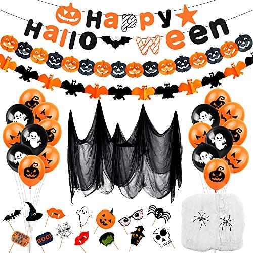 Decoracion Halloween Casa XXL, Guirnalda halloween, Pancartas Happy Halloween, Decoración de Halloween-Banderas Banderinas, Guirnalda Calabaza, Tela De Araña, Photocall de Halloween Fotomatón
