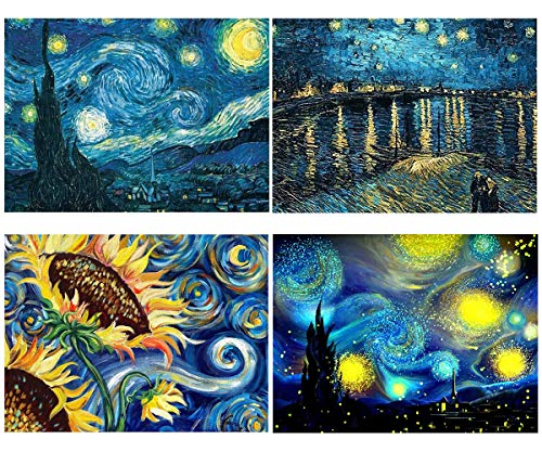 Diamond Painting Kits for Adults,Diamond Art Kits Full Drill Canvas Art Picture for Home Wall Decor Starry Sky(Van Gogh 4pcs)