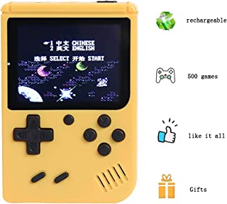 Retro FC Game Console, Mini Handheld Games Consoles with 500 Classic Games 3.0 inch Screen, Portable Retro Video Game Console Support for Connecting TV, Good Gifts for Kids and Adult (Yellow)
