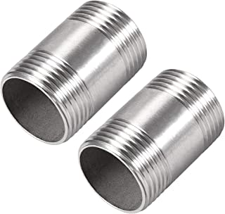uxcell Stainless Steel 304 Cast Pipe Fittings Coupling Fitting 1 X 1 G Male 2pcs