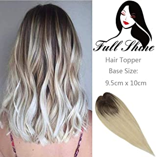 Full Shine Real Brazilian Hair Toppers 8 Inch Short Ombre Color #3 Fading To #8 And #613 Balayage 35g Brown To Blonde Topper Remy Straight Hair Clip In Toupee Invisible Lace Base 9.5x10cm