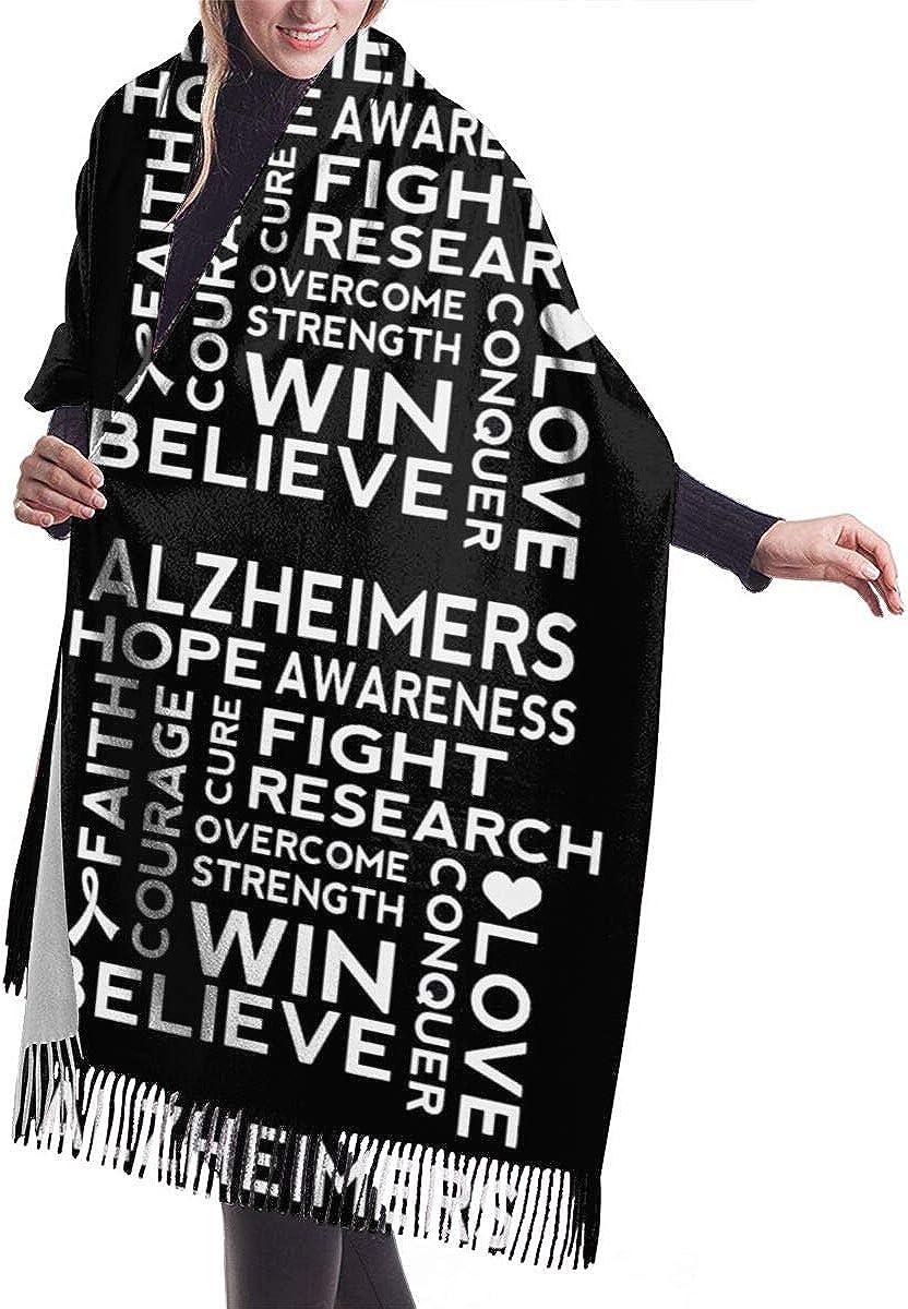 Alzheimers Awareness Support Slogan Winter Scarf Cashmere Scarves Stylish Shawl Wraps Blanket