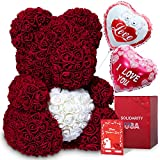 """SLD-WORLD Rose Teddy Bear with Heart - 16"""" Flower Bear with 600+ Artificial Roses -Gift Boxed for Her with Ballon and Customizable Greeting Card for Birthday, Christmas and Valentines Day"""