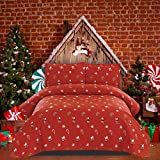 Christmas Bedding Set Full/Queen Size Christmas Quilts Lightweight Christmas Bedspread Holiday Bedding Snowflake Santa Claus Print Quilt Reversible Coverlet Rustic Lodge Christmas Coverlet Red