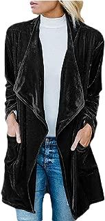 Womens Lapel Velvet Drape Jacket Open Front Cardigan Outwear