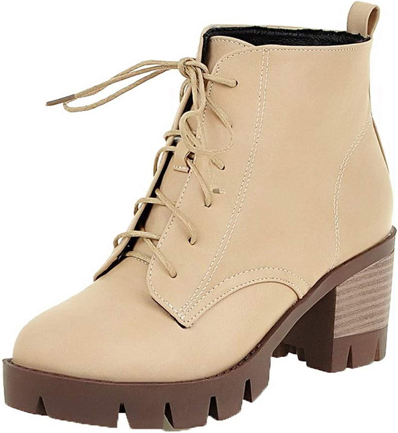 WeenFashion Women's Lace-Up Round-Toe Kitten-Heels Pu Low-Top Boots, AMGXX011056