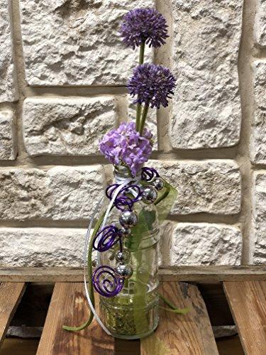 Tischdeko Tischdekoration Nr.51 Tischgesteck Gesteck mit Vase lila Allium und Schneeball elegant Sommer moderne Tischdeko Sommerdeko