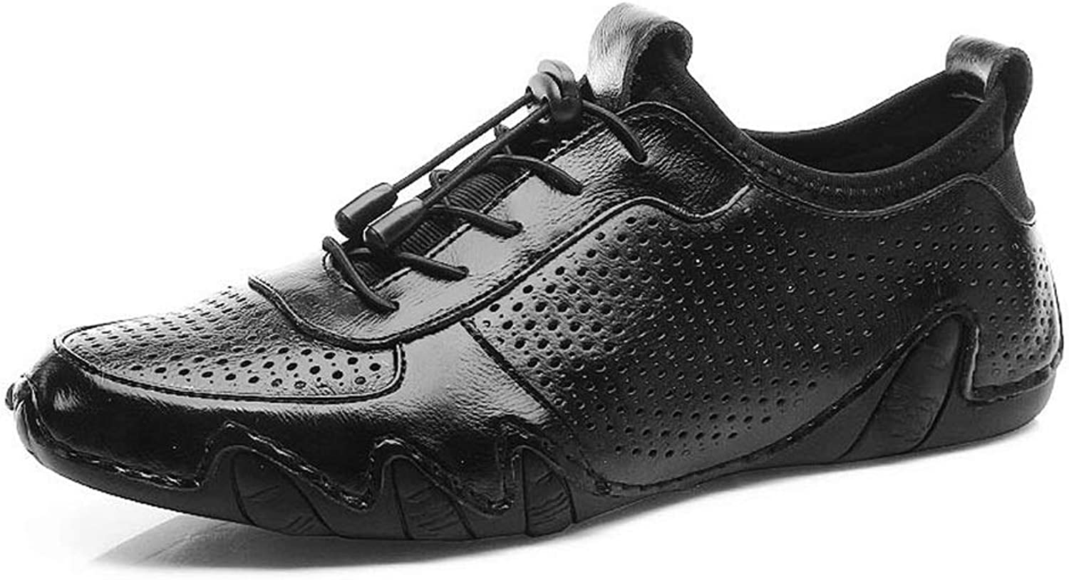 Easy Go Shopping Athletic shoes for Men Sports shoes Lace Up Style OX Leather Personality Breathable Hollow Vamp Cricket shoes (color   Black, Size   7 UK)