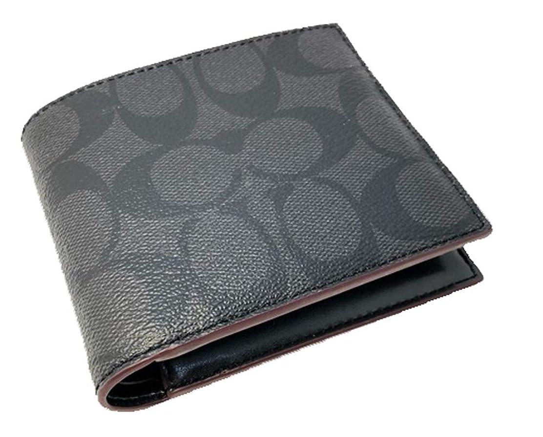 に渡って皮肉フォーク【アウトレット】COACH(コーチ) メンズ 二つ折り財布『Compact ID Lether Wallet/コンパクト ID ウォレット』(N3A/ブラック×オックスブラッド)
