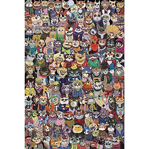500/1000/1500/2000 Piezas Rompecabezas, Rompecabezas de Madera de Alta definición, Niños Adolescentes Adultos inteligencoa de Juegos Familiares, Foto de Grupo de los Gatos (Size : 1000pieces)