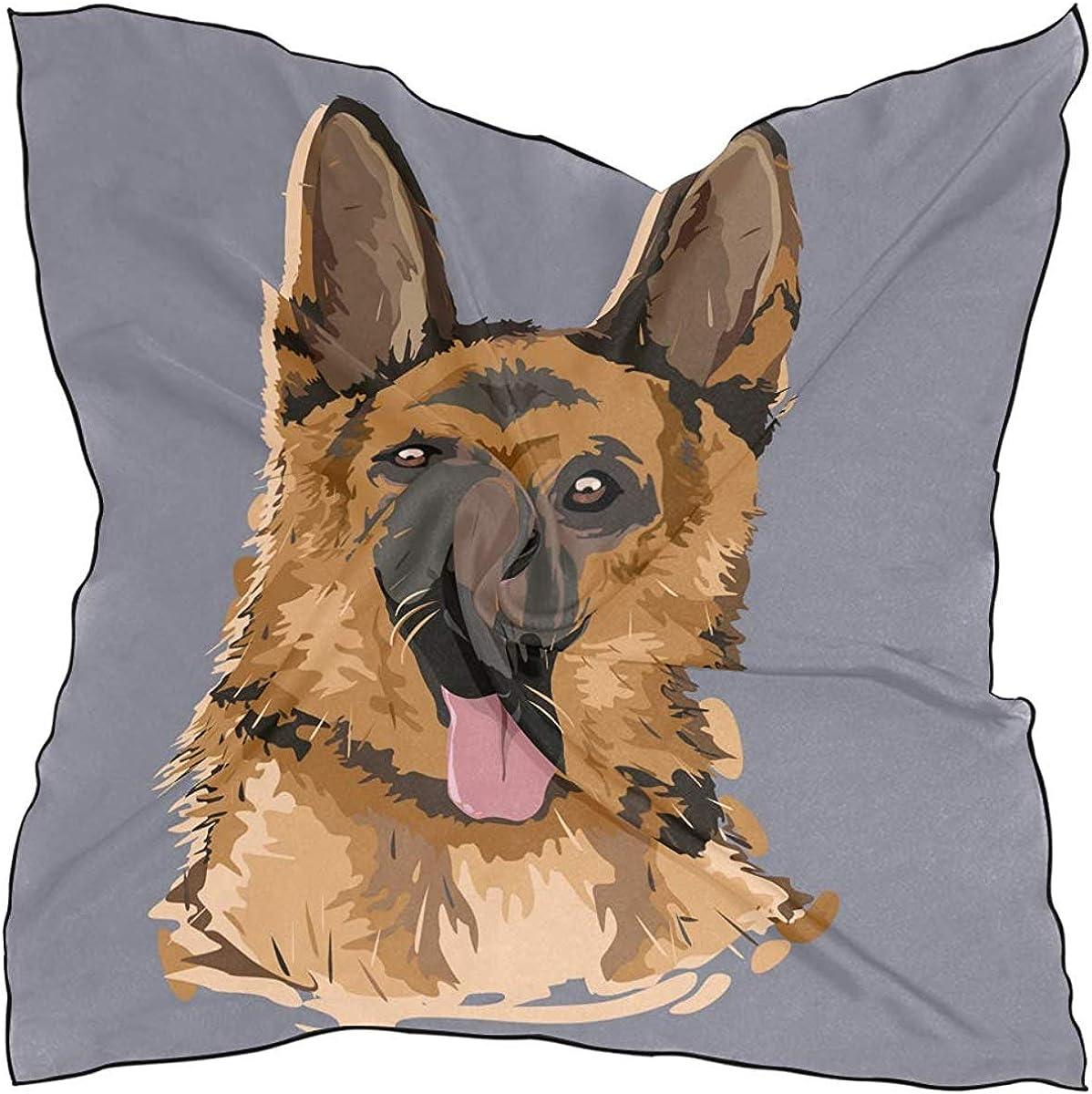 Head scarf Large Square Doodle Cartoon German Shepherd Dog drink Multipurpose Headpiece Fashion Silk Scarf for Women Satin kerchief