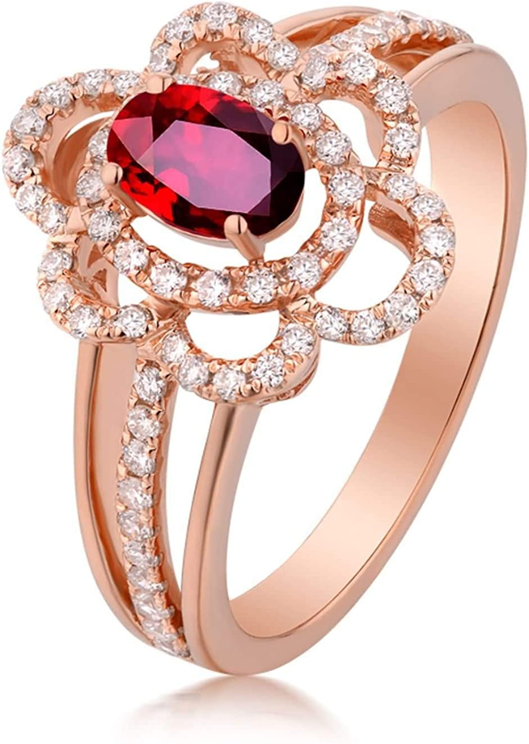 Aokarry Women 18K Rose Gold Promise All items Fashion free shipping 0.54ct Ring Anniversary 1ct