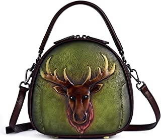 Fashion Brown/Black/Red/Green Retro Leather Female Bag Top Layer Leather Fashion Single Shoulder Diagonal Portable Women's Embossed Bag 22 * 9 * 21 (cm) (Color : Green)